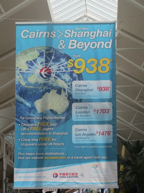 A picture of an advert for flights direct to Shanghai, China from Cairns, Queensland