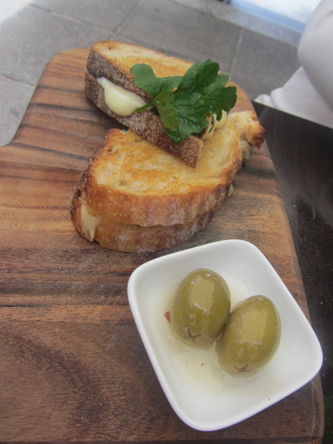 A picture of Amanda's toasted cheese sandwich at Not Just Coffee in Paddington, Sydney.