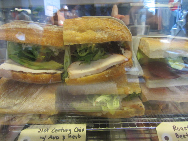 A selection of ready-made sandwiches at Not Just Coffee in Sydney.