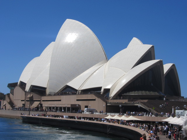 A close up picture of the Sydney Opera House.