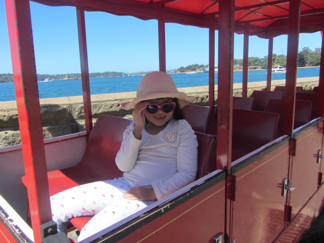 A picture of Amanda aboard the Choo Choo Train at the Botanic Gardens in Sydney.