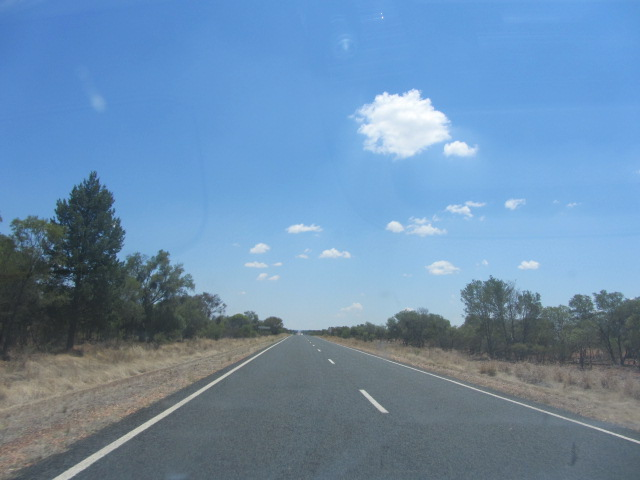 The road after Dubbo, towards Broken Hill.