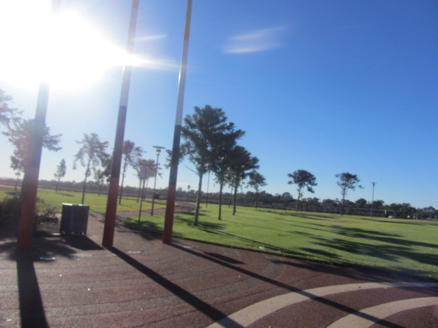 A picture of the grassy area adjacent to the Esplanade at Port Augusta in South Australia.