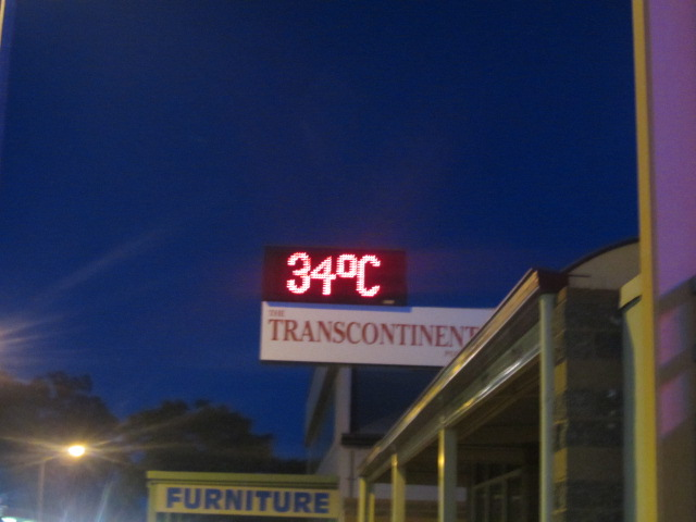 A picture of a street thermometer in Port Augusta, South Australia.