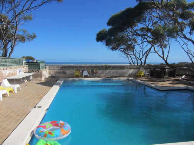 A picture of the swimming pool at our hotel in Eucla, Western Australia.