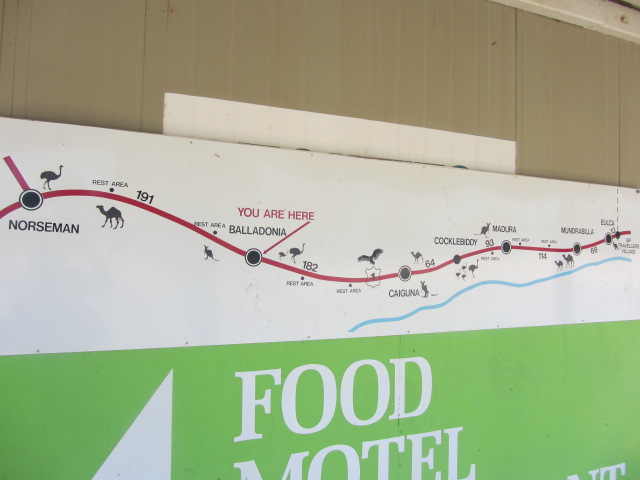 A picture of a summary of the route we are taking from Eucla to Norseman on the side of a building at Baladonia.
