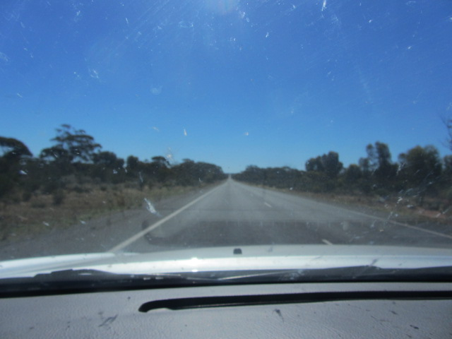 No food for at least another 100 km. A picture of the road from Eucla to Norseman, Western Australia