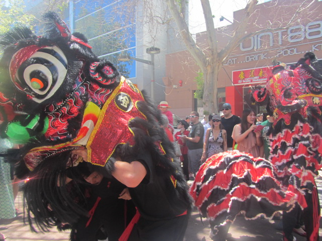 You wouldn't believe it but the lion dancers were Latin Americans!