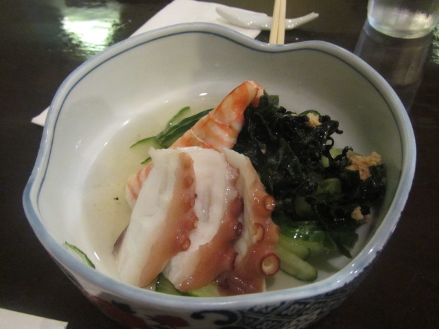10 out of 10 for presentation and taste.  A picture of the Sunomono we had at Kido Japanese restaurant in Nedlands, Perth.