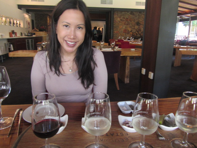 Beaming from all the wine sampled before lunch.