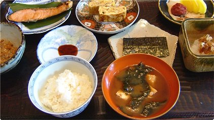 A picture of a typical Japanese breakfast. Picture courtesy of http://j-simplerecipes.com