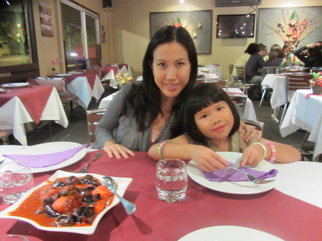 A picture of me and Amanda at Riverside Malaysian restaurant in Highgate Hill.