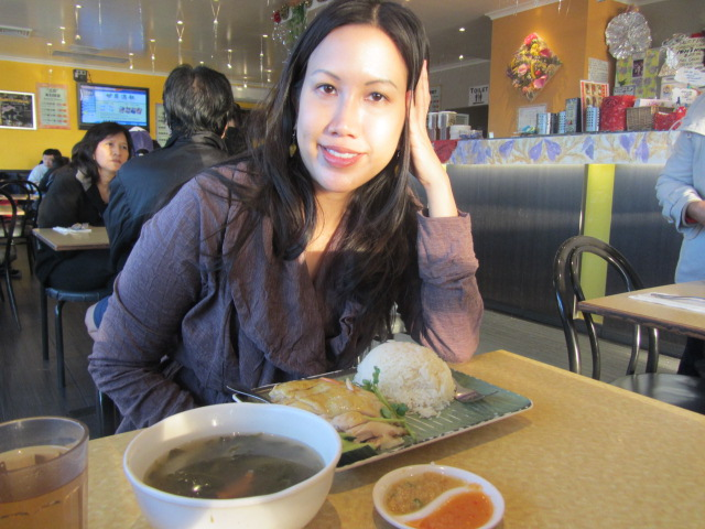 A picture of me in Malaya Corner having Chicken Rice and $2 soup.