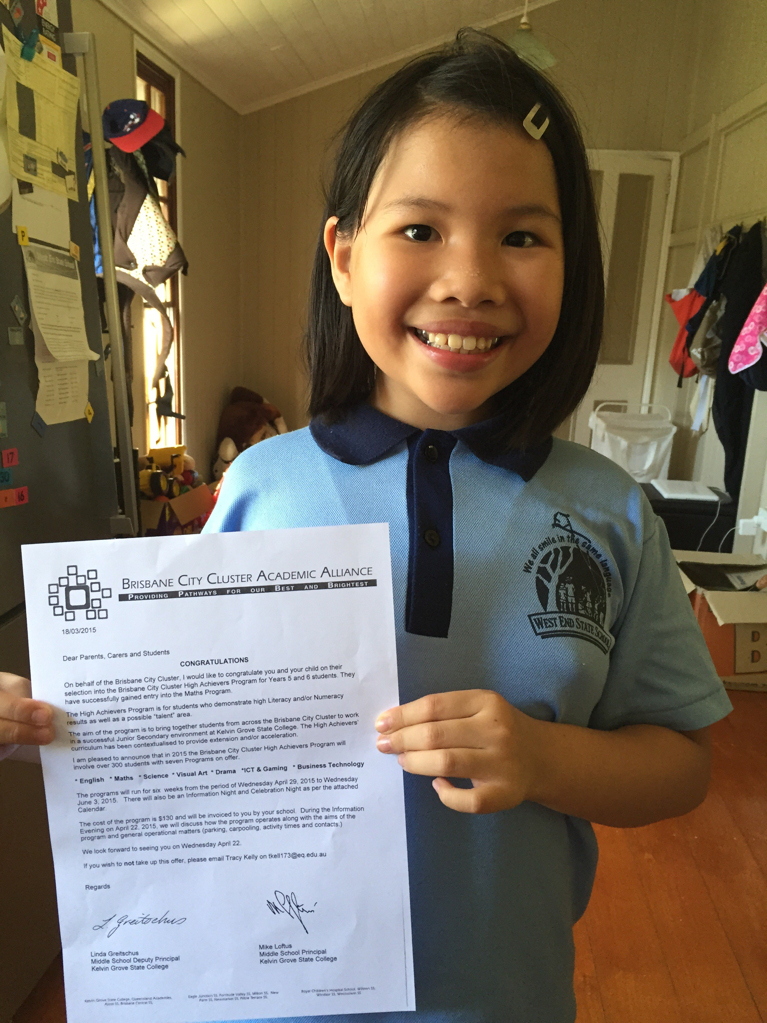 A picture of Amanda with her offer letter.