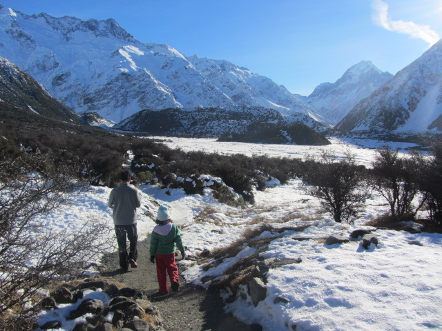 A picture of HRH and Amanda on Mt Cook, trekking towards Kea Point.