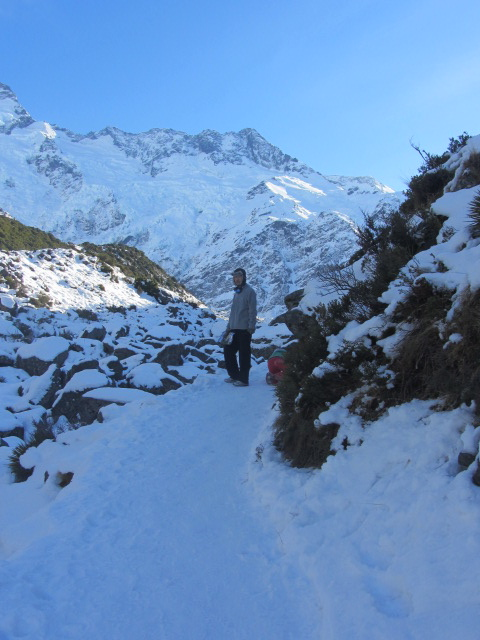 A picture of HRH nearing Kea Point on Mt Cook, New Zealand.