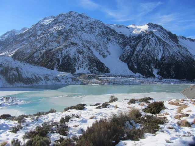 A picture of the snout of Mueller Glacier from Kea Point on Mt Cook in New Zealand.