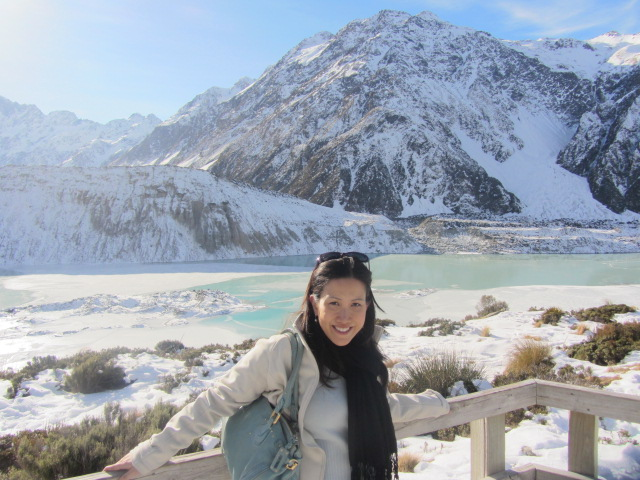 A picture of me at the snout of Mueller Glacier from Kea Point on Mt Cook in New Zealand