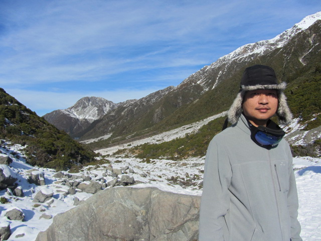 A picture of HRH heading to The Hermitage, after our hour-long walk to Kea Point on Mt Cook in New Zealand.