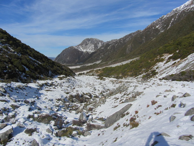A picture of our path heading back to The Hermitage, after our hour-long walk to Kea Point on Mt Cook in New Zealand.