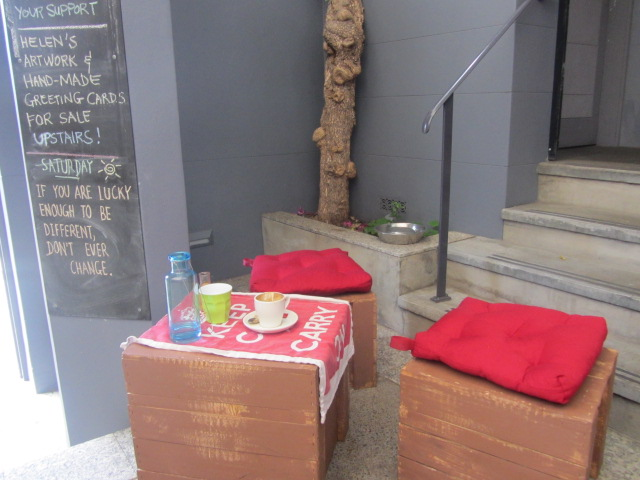 A picture of some of the seating at Not Just Coffee in Paddington, Sydney.
