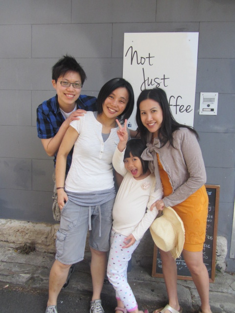A picture of Kit, Yuens, Amanda and I outside Not Just Coffee in Paddington, Sydney.